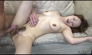 This babe is undisturbed twitching when he cums on will not hear of soft wet crack