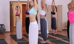 Two babes shafting yoga coach after class