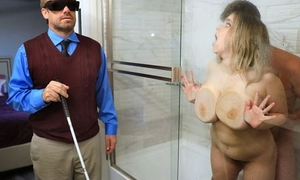Chubby slut with saggy tits cheats more than her blind hubby